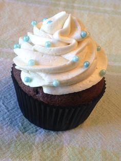 Chocolate Bourbon Cupcake with chocolate ganache filling and vanilla buttercream