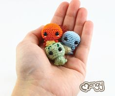 Even big Charizards, Venusaurs and Blastoises gotta start out as little tiny babies! Their only attack is CUTE! Its super effective!Each pokemon is handcrafted with crochet thread and the tiniest steel crochet hook available. They measure only 0.7 high.They are available for purchase from my Etsy Store [link] and Storenvy [link] (If none available please check back again! They may have sold out!)