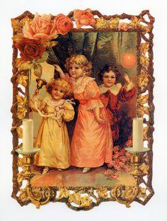 Children Celebrating LARGE SCRAP RELIEF - Scrap Reliefs - Children Scrap Reliefs - Victorian Die Cut - Victorian Children Die Cut