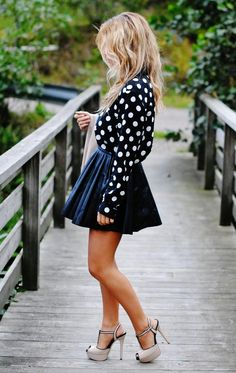Blonde, navy and sexy high heels