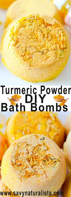 Made with all natural turmeric powder these bathbombs are not only easy to make, but contain skin loving benefits to help the skin glow!