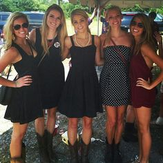Black Dress + Boots + Pearls = Game Day SOUTHERN Style ---- GO GAMECOCKS!