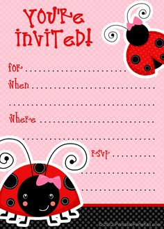 Free ladybug party invitations from PrintablePartyInvitations.Blogspot.com