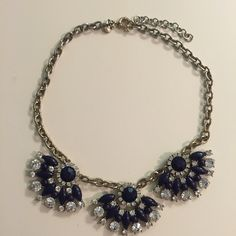 J. Crew navy fan necklace Darker stones are deep navy-- though they appear black in some light. Adjustable chain. J. Crew Jewelry Necklaces