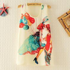 Quality womens summer new Korean Slim Fashion Love pattern sleeveless chiffon shirt blouse 305C592 wood - Taobao
