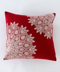 Red & White Lace Pillow - Sheri Soistman - - Red & White Lace Pillow Red & White Lace Pillow – a great way to use old doilies – they resemble snow flakes….how pretty! Crochet Cushion Cover, Crochet Cushions, Sewing Pillows, Crochet Pillow, Cushion Fabric, Crochet Doilies, Doilies Crafts, Fabric Crafts, Sewing Crafts