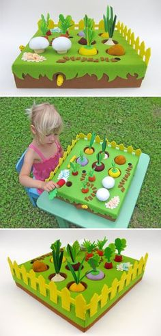 Pretend play Felt Garden with 12 vegetables and 2 worms in the burrows. Would you like to have a little gardener in your family? Buy this set of toys – and your child will be happy :) Attention!!! Regular price - 142 USD. If you buy now the Felt Garden - you will save 30% (discount is valid for the first ten buyers). For 100 USD you can buy as many as 15 unique handmade items! ————————————————————— Holes cut into the foam allow the veggies to hide in the soil. All items are hand stitched...