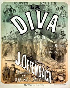 8x10 Vintage French Advertisements. La Diva Opera Poster. Art Nouveau. Jules Cheret - 054