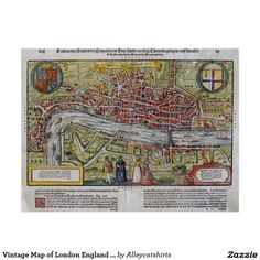 Vintage Map of London England (1598) Poster