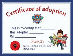 Paw Patrol Adoption Certificate printable Digital by MyHappyJo