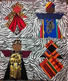 African Queens paper pieced 6in x 7in