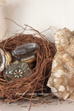 french country cottage-A nest of vintage door knobs