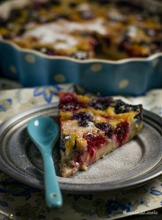 Clafoutis de frambuesas, moras y arándanos #raspberries #blackberries #blueberries
