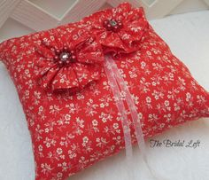Red Wedding Ring Pillow Red Ring Bearer Pillow Red by BridalLoft