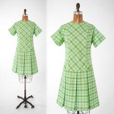 Vintage Green Plaid Cotton Dress 1960s Plaid Shift by missfarfalla