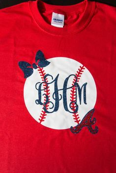Preppy Atlanta Braves Baseball with Monogram. by BurlapandLaceSC1