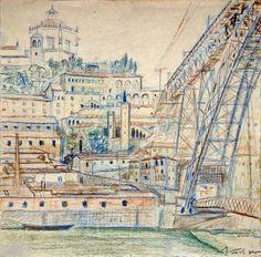 Nadir Afonso Pablo Picasso, Nadir Afonso, Porto Portugal, Douro, Portuguese Tiles, Gaia, Taj Mahal, Pastel, Vintage World Maps