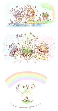 Growing family ... part 1 ... Nature spirit story 6 ... Drawn by racyue ... Free! - Iwatobi Swim Club, haruka nanase, haru nanase, haru, free!, iwatobi, makoto tachibana, makoto, tachibana, nanase, rin matsuoka, matsuoka, rin, nagisa hazuki, nagisa, hazuki, ren, ran, ren tachibana, ran tachibana