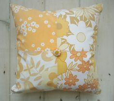 just peachy patchwork cushion