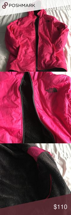Pink North Face Fuzzy Jacket This is a pink North Face jacket, lined. PERFECT condition! No rips or stains! The North Face Jackets & Coats Puffers