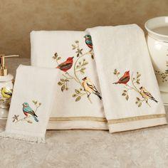 Gilded Bird Towel Set Ivory Bath Hand Fingertip