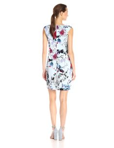 06ca530f503 Adrianna Papell Womens Portrait Neckline Dress with Side Drape Blue Multi  12 -- For more information