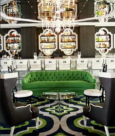 Fantastic color scheme. Black , white , grey and pop of green! I have an old couch in storage--similar to this style~~~hmmmm??? LOVE THIS!!