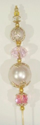 """Hat Pin 6"""" Vintage + New - OOAK - Pink Glass Pearls, Crystals, Filligree Caps"""