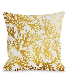 Take a look at this Gold Coral Throw Pillow today!