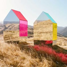 in the californian landscape, photographer @autumndewilde installed a series of mirrored, jewel-toned structures that showcase the @cadillac escalade in an artistic light. the set of semi-opaque plexiglas-and-#mirror houses echo the play of light on the vehicle's design.⠀ ⠀ see more #artinstallations on #designboom #autumndewilde