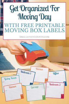 Moving Organization Printables - Free Printable Labels For Moving Boxes. - Moving Organization Printables – Free Printable Labels For Moving Boxes… - Moving House Tips, Moving Day, Moving Tips, Moving Hacks, Moving Binder, Moving Planner, Printable Labels, Free Printables, Moving Organisation