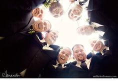 cool groomsmen photo.  i love photos like this--posed but still candid.  i wonder how she got them to look so natural.