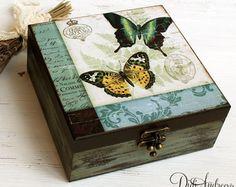 Wooden jewelry box decoupage box shabby chic box bird by ArtDidi
