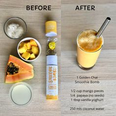 Makes 5 delicious golden chai smoothies! Organic Turmeric, Organic Coconut Oil, Coconut Water, Smoothie Recipes, Smoothies, Recipe Download, Ginger And Cinnamon, Bombe Recipe, Fruit And Veg