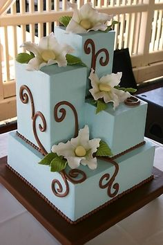 Beautiful tiffany blue with brown accents Wedding Cake with sugar flowers and fondant I Cynthia Holt Events