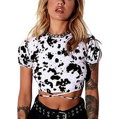 Listing Date:05/06/2021 Cropped Tops, Criss Cross, T Shirt Court, Black And White Tops, Tshirts Online, Lace Up, Clothes, Women, Products
