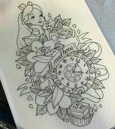 alice in wonderland tattoo eat me, drink me, clock, roses