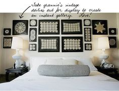 """Want to give a fresh new look to your old family """"heirlooms""""? With contemporary custom framing, these vintage doilies suddenly have a modern aesthetic. The same thing can be done with hankies, jewelry, pocket watches, belt buckles, etc."""