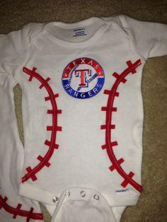 Texas Rangers Baseball Stitching Shirt or Onesie. $12.00, via Etsy.