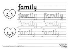 Family Handwriting Worksheets