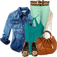 Denim Top and Mint Jeans