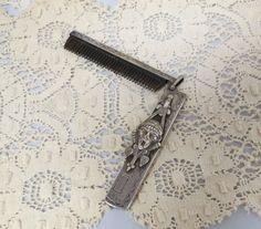 Anitque Chatelaine Folding Comb Grotesque Masque Signed JEM Hammered Surface by KansasKardsStudio on Etsy