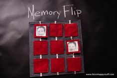Busy Book  or quiet book page:  memory flip!  it's a memory game, a matching game and no loose pieces!  can be made simpler by sewing felt shapes onto each square instead of printing faces onto printable fabric.  This way is a nice way to reinforce the names of far-away family members!
