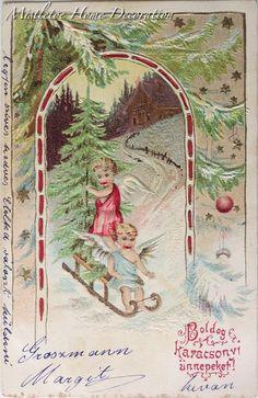 Mistletoe Home Decoration: Vintage Hungarian Christmas card Christmas Postcards, Vintage Christmas Cards, Christmas Images, Sled, Mistletoe, Hungary, Roots, Angels, Decoration
