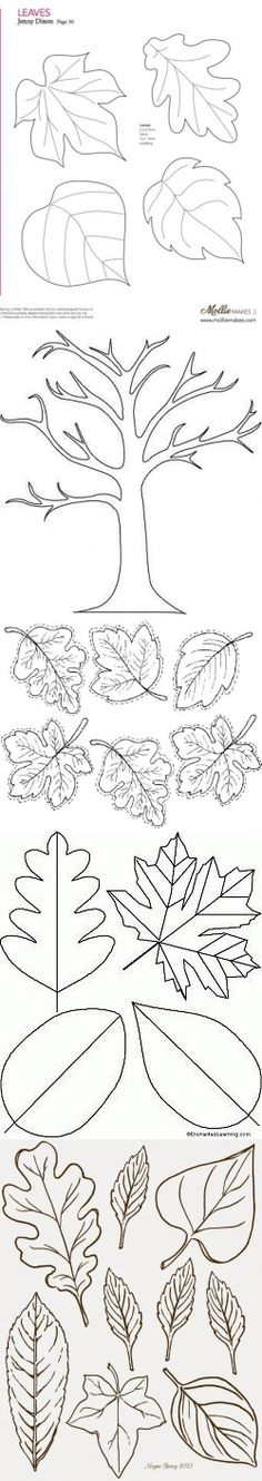 Шаблоны листьев Fall (Autumn) papers for drawing Wool Applique, Applique Patterns, Quilt Patterns, Sewing Patterns, Autumn Crafts, Autumn Art, Quiet Book Templates, Diy And Crafts, Paper Crafts