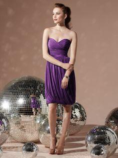 Sweetheart Purple Empire Chiffon Backless Sleeveless Ruched-Ruffles Column-Sheath Knee-length Bridesmaid Dress