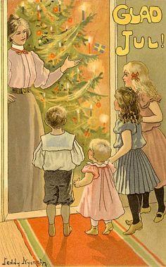 Beautiful! Vintage Jenny Nystrom Family Christmas Tree Card ~ Orange Details