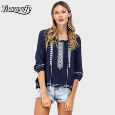 Benuynffy Lace Up Ethnic Embroidery Blouses Women 2017 Vintage Three  Quarter Sleeve Casual Tops Female Boho Summer Blouse X593 891f7f938dc5
