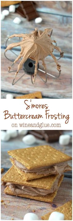S'mores Buttercream Frosting   Delicious frosting that tastes like an ooey gooey s'mores
