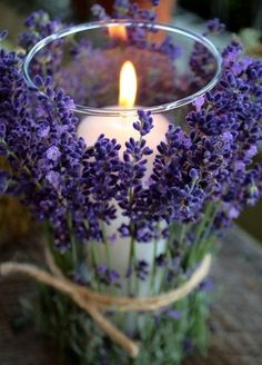 Fresh lavender stems add a wonderfully rustic look to your wedding decor. Plus, they smell absolutely amazing. Summer Wedding Flowers, Wedding Decorations